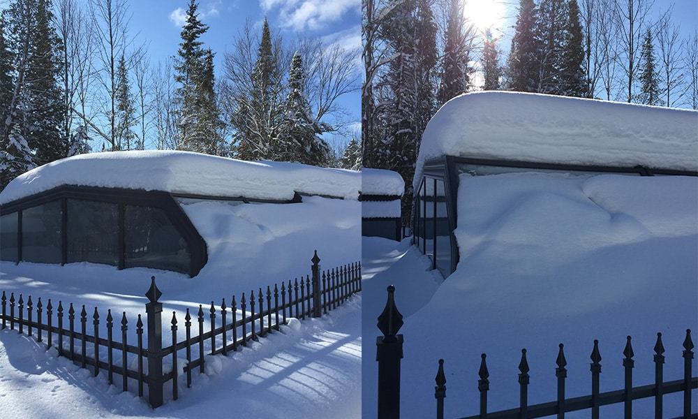 Arcadia hoge zwembadoverkapping - Hoge afdekzeil in de sneeuw in Canada